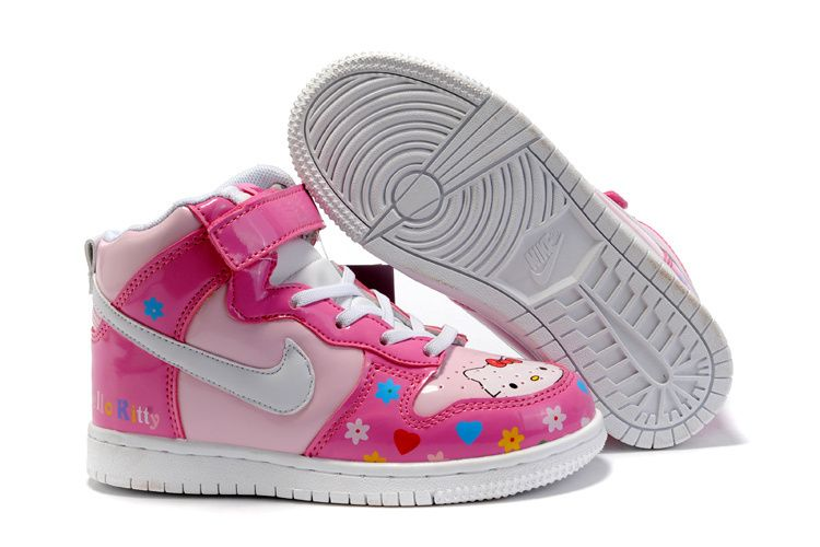 Girls Nike Dunk High Tops Hello Kitty Pink Shoes On Sale Cheap