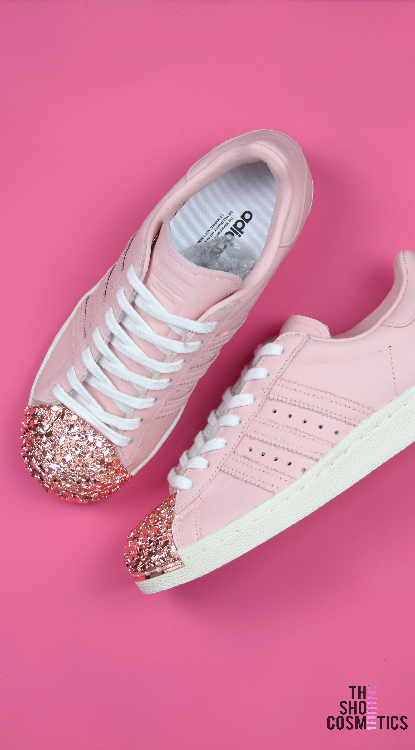 competitive price 1aefc 0b19c Explore our Pink rose gold Adidas custom sneakers. Love Adidas rose gold  shoes  Then these custom rose gold Adidas superstars are perfect for you.