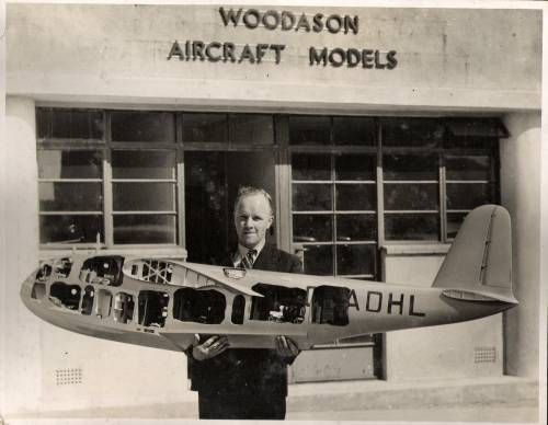 "An updated Woodason Aircraft Models shop on Heston Airport in the Airwork facility - not certain of the date of this photo, probably late 1930s. The Empire Flying Boat, G-ADHL, is similar to the cut-away depicted in his 1943 book (built for the 1937 Paris Exhibition), yet this is not the same 1"" scale model. Woodason had his shop on the airport from March 1945 to December 1949 - but information indicates that it was in the back of an Airwork hangar. Airwork Ltd. did not charge him rent."