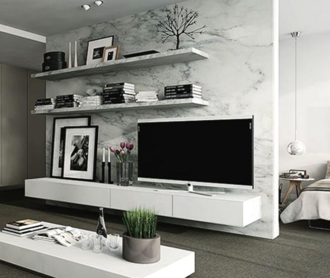 Tv Meubel Wand.Geweldige Nep Marmeren Wand Achter De Tv Een Hangend Tv Meubel