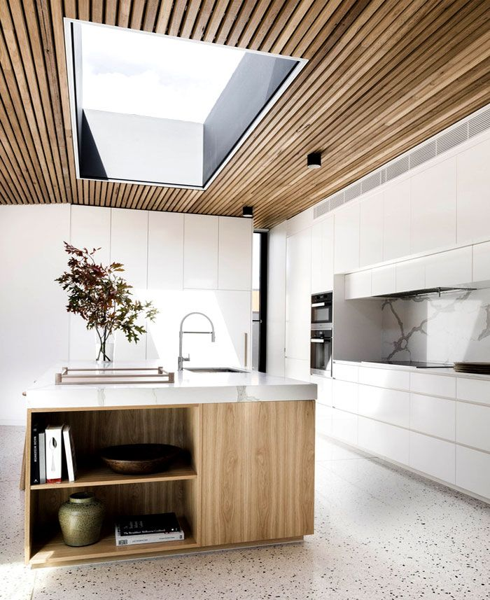 Courtyard House House ceiling design, Timber kitchen