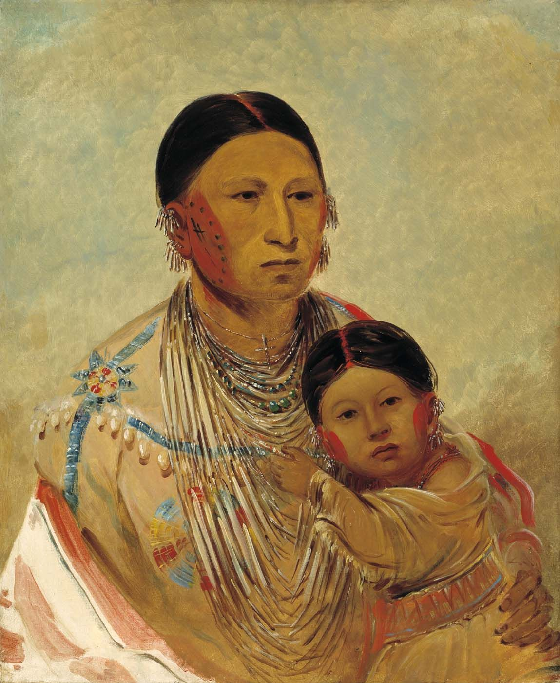 Ru-ton-ye-wee-ma, Strutting Pigeon, Wife of White Cloud    Painted by George Catlin in 1844