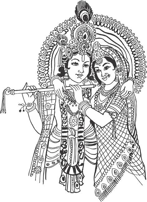 Indian Hindu God Lord Kannan Radhai Krishnan Rukmani Drawing Vector Cliparts Coloring Book Art Mandala Design Art Indian Art Paintings