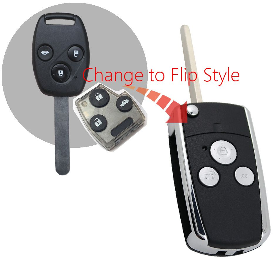 1pcs 3 Button Modified Flip Remote Car Key Shell For Honda Crv Fit Accord Case Pilot Civic Replacement Folding Keyless Fob Affiliate