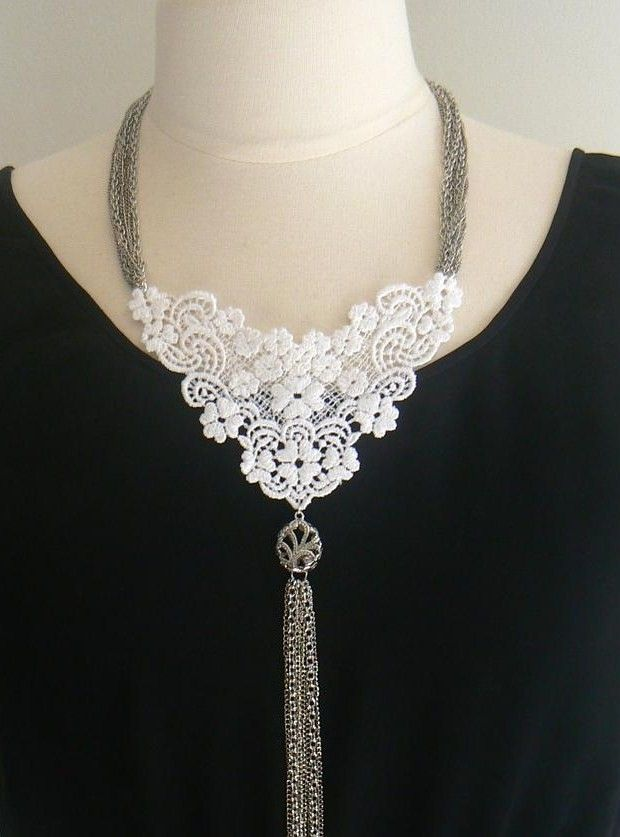 Lace and chain tassel necklace, $45.00, via Etsy.