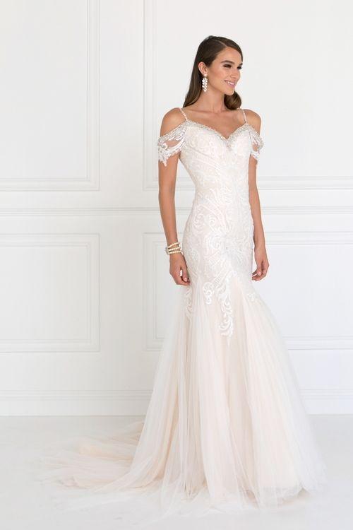 Elizabeth K Bridal Gl1513 Lace Appliqued Off Shoulder Straps Bridal Dress Cold Shoulder Wedding Dress Wedding Dresses Lace Ivory Wedding Dress