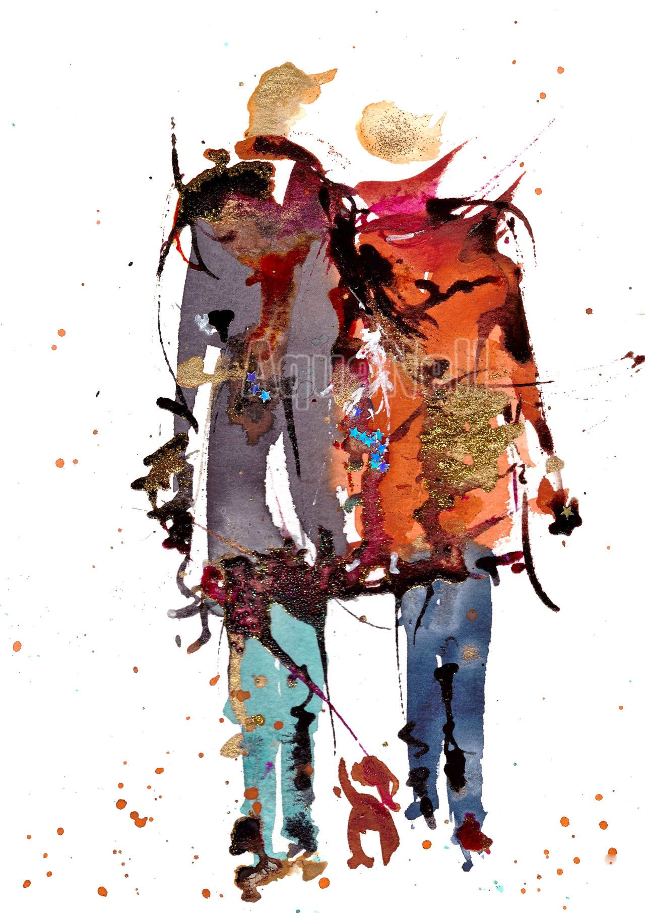 peinture illustration aquarelle pour d coration murale nous watercolor people pinterest