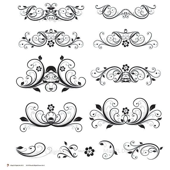 Digital clipart flourish clip art swirls vintage flower