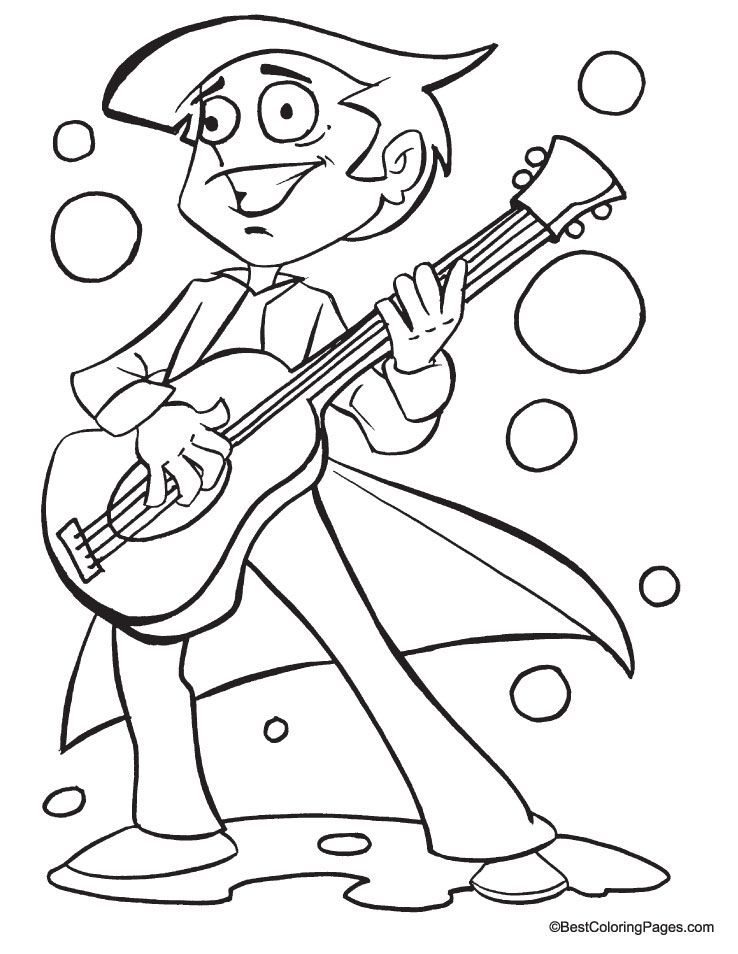 Guitar coloring page coloring pages Pinterest Guitars