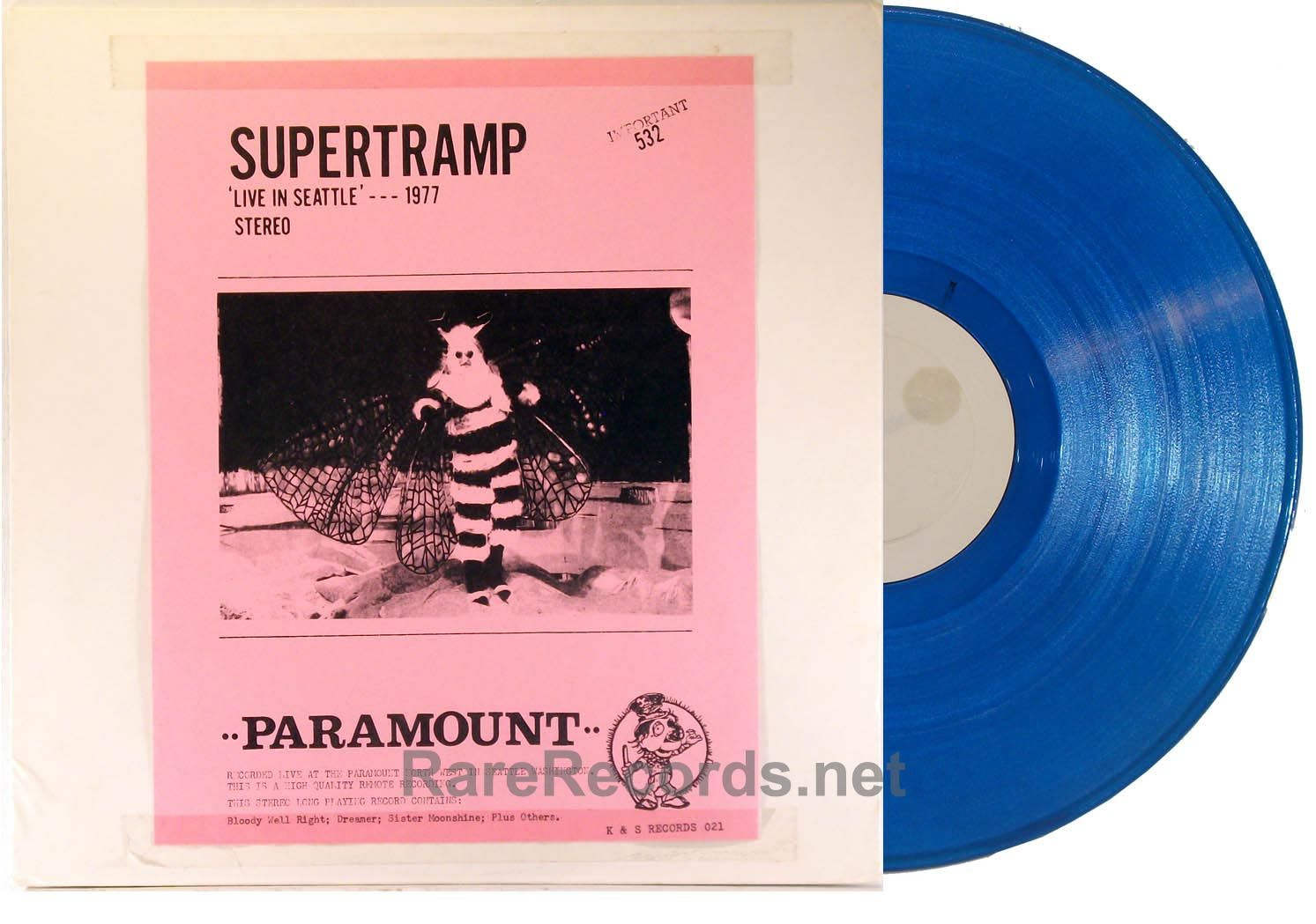 Supertramp Live In Seattle 1977 K S Records 1978 Rare Blue Vinyl Lp Issued By The Obscure Canadian Label K S Records Blue Vinyl R B Albums Rare Records