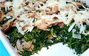 Hungrygirl's Spinach, Mushroom and Mozzarella Supreme. Uses babybel light swiss cheese!