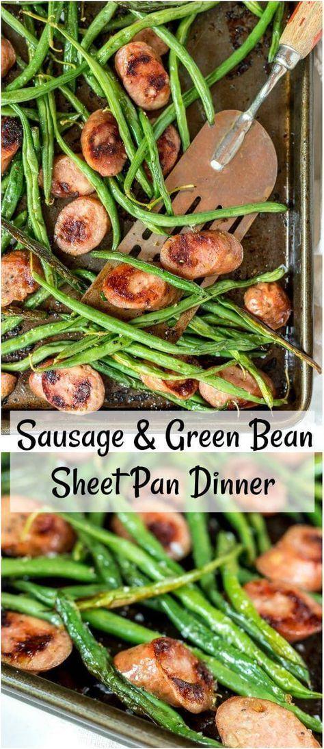 Sheet Pan Green Beans and Sausage Dinner #sausagedinner