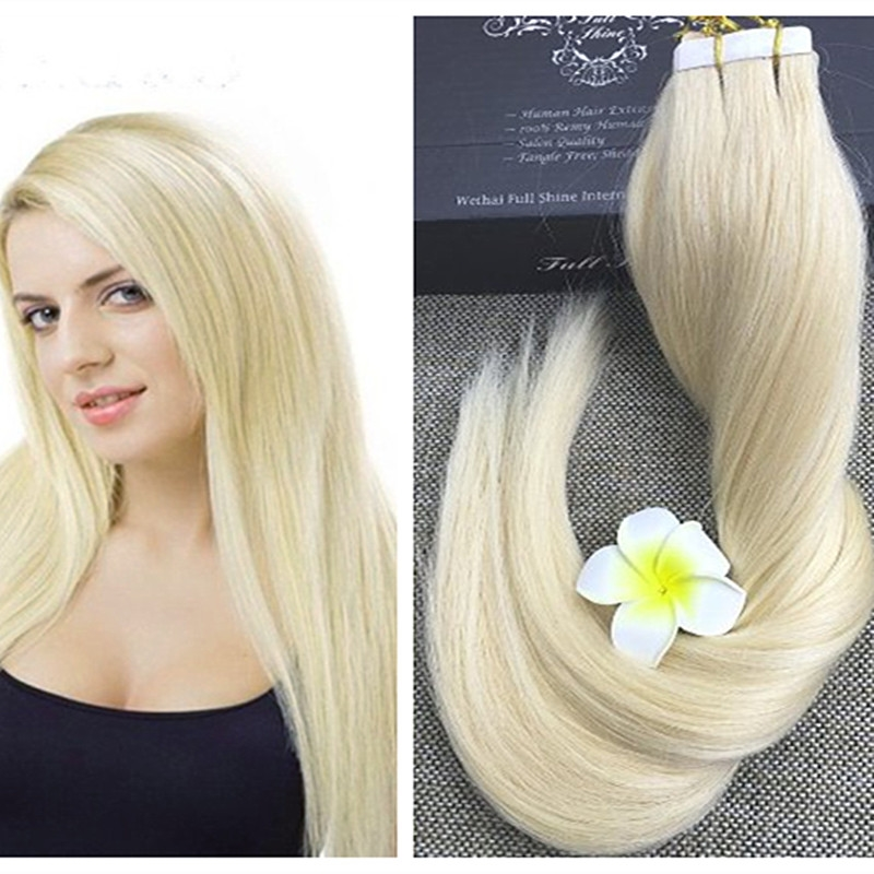 3157 Buy Here Full Shine Blonde Tape In Human Hair Extensions