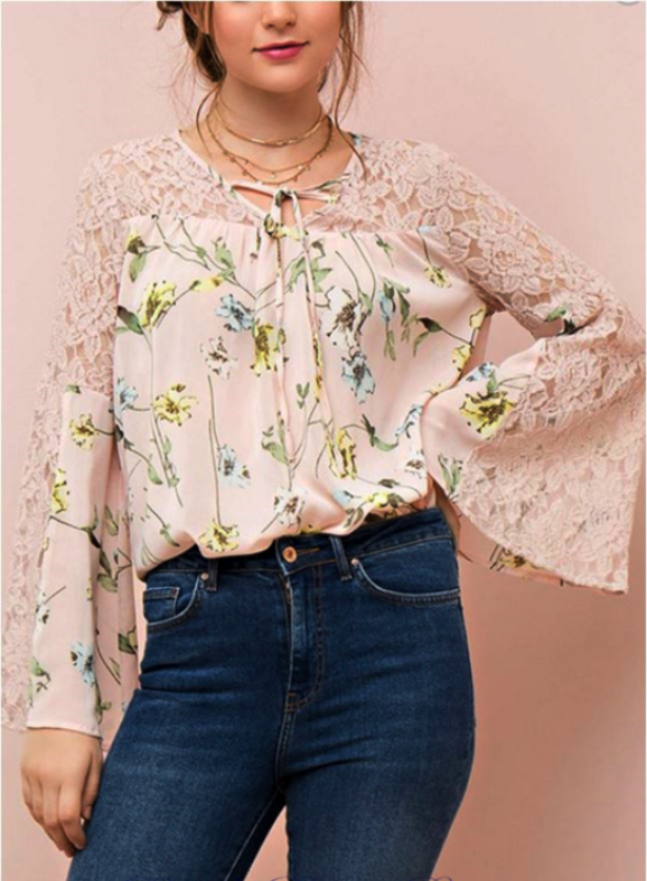 a68aaf29254ef1 Boho 70s Bell Sleeve Floral Blouse - Dusty Pink. Entro Lovely wildflowers  sheer print top ...