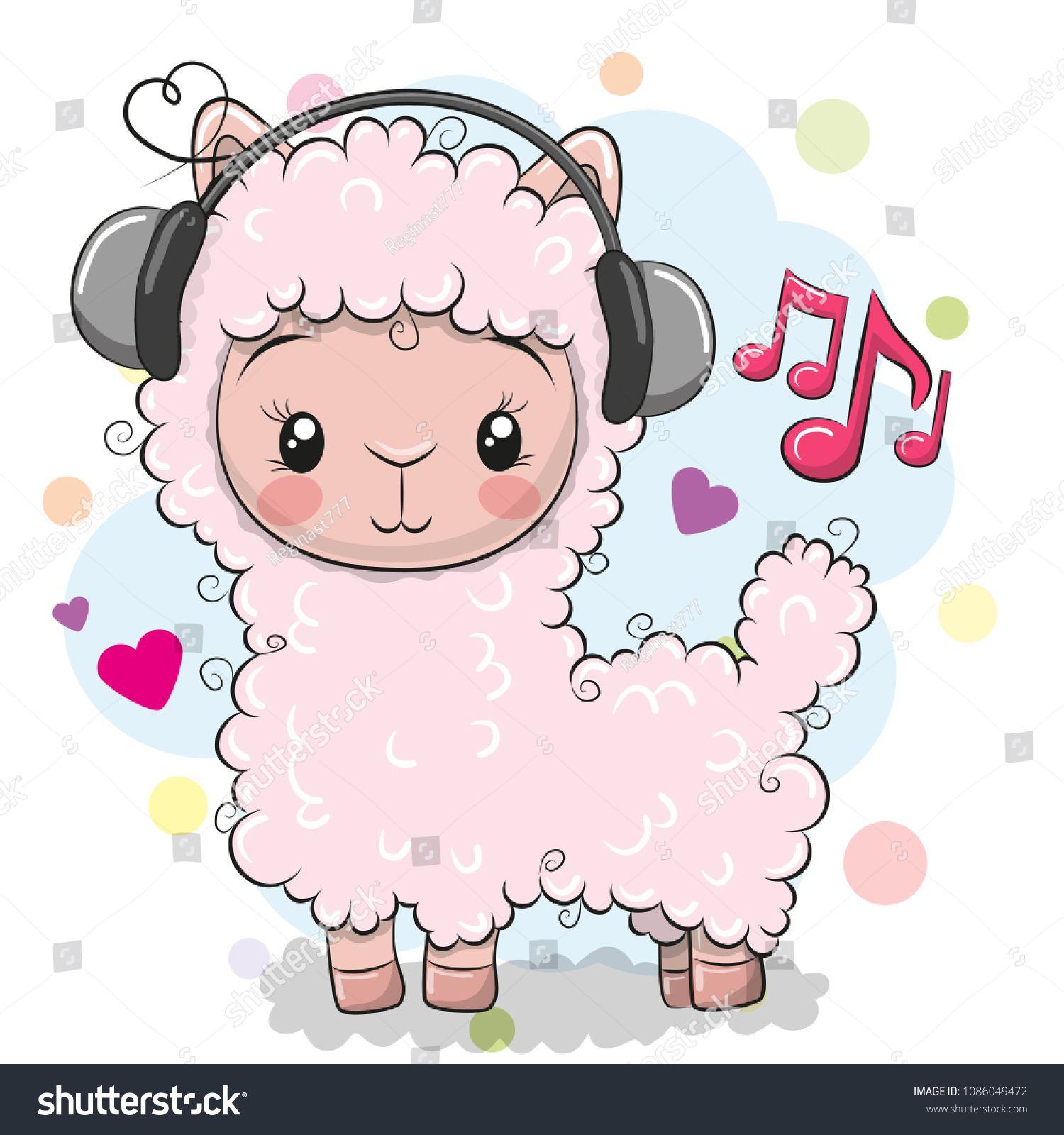Cute Cartoon Alpaca With Headphones On A White Backgroundalpaca