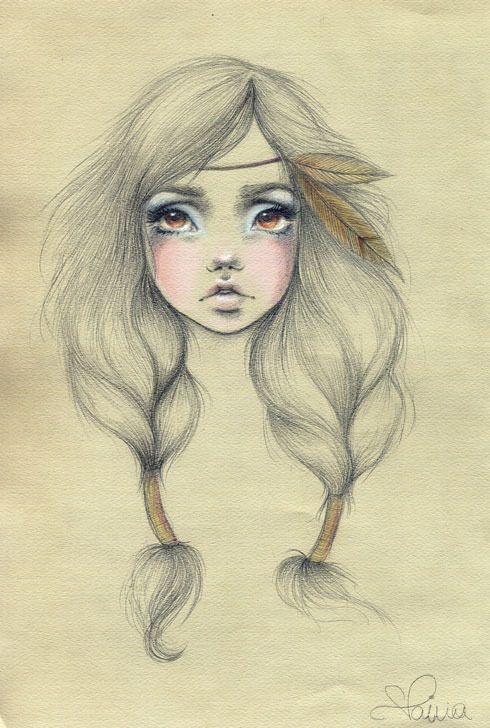 Native American Indian Girl #Art #Drawing #Braids #Feather #Makeup ...