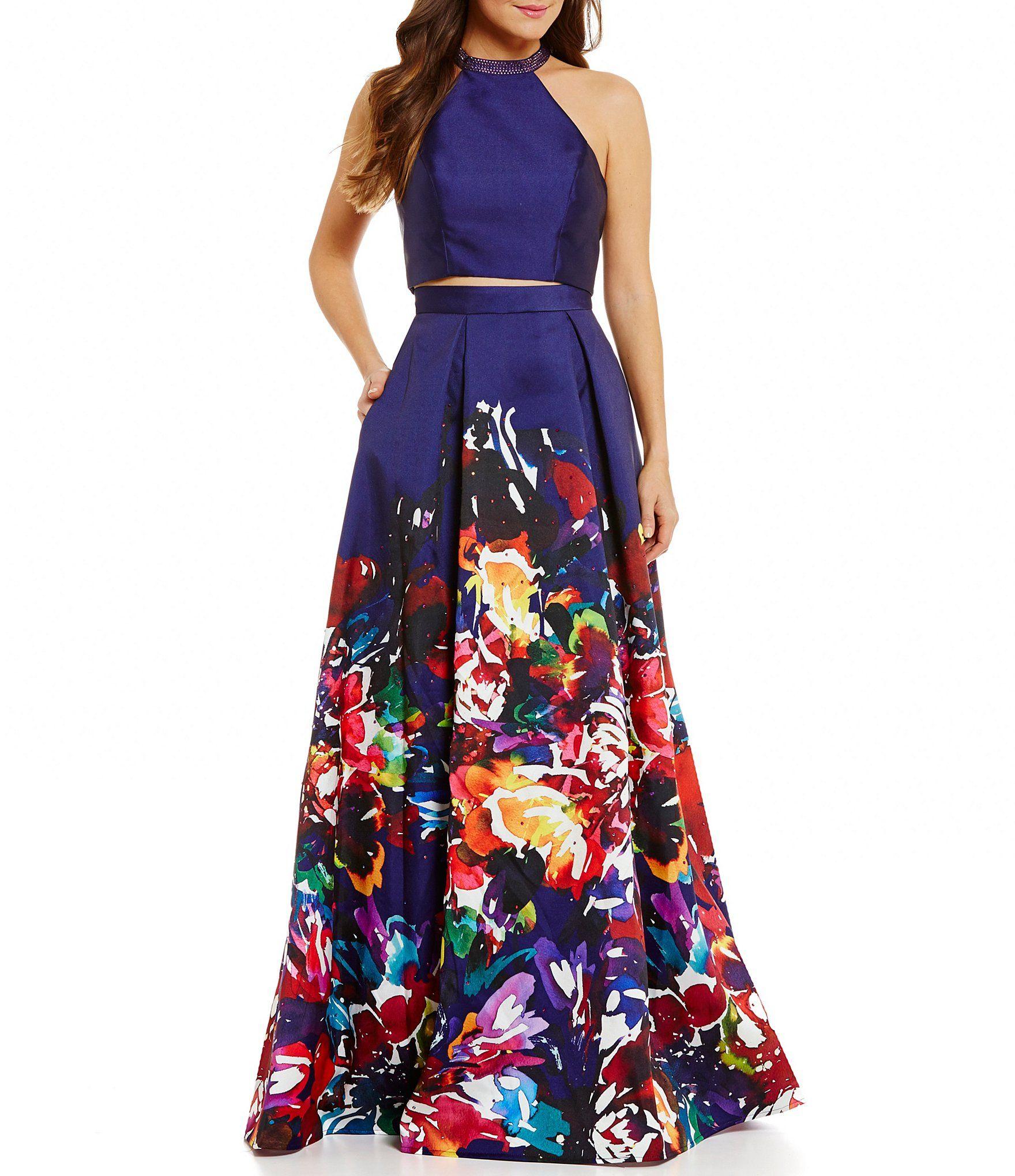 Ellie wilde high neck twopiece floralprinted ball gown dillards