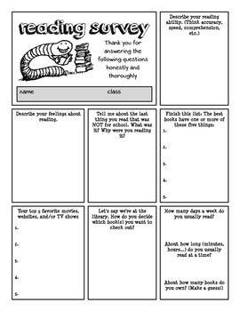 Reading Survey For Upper Grades   Pinteres