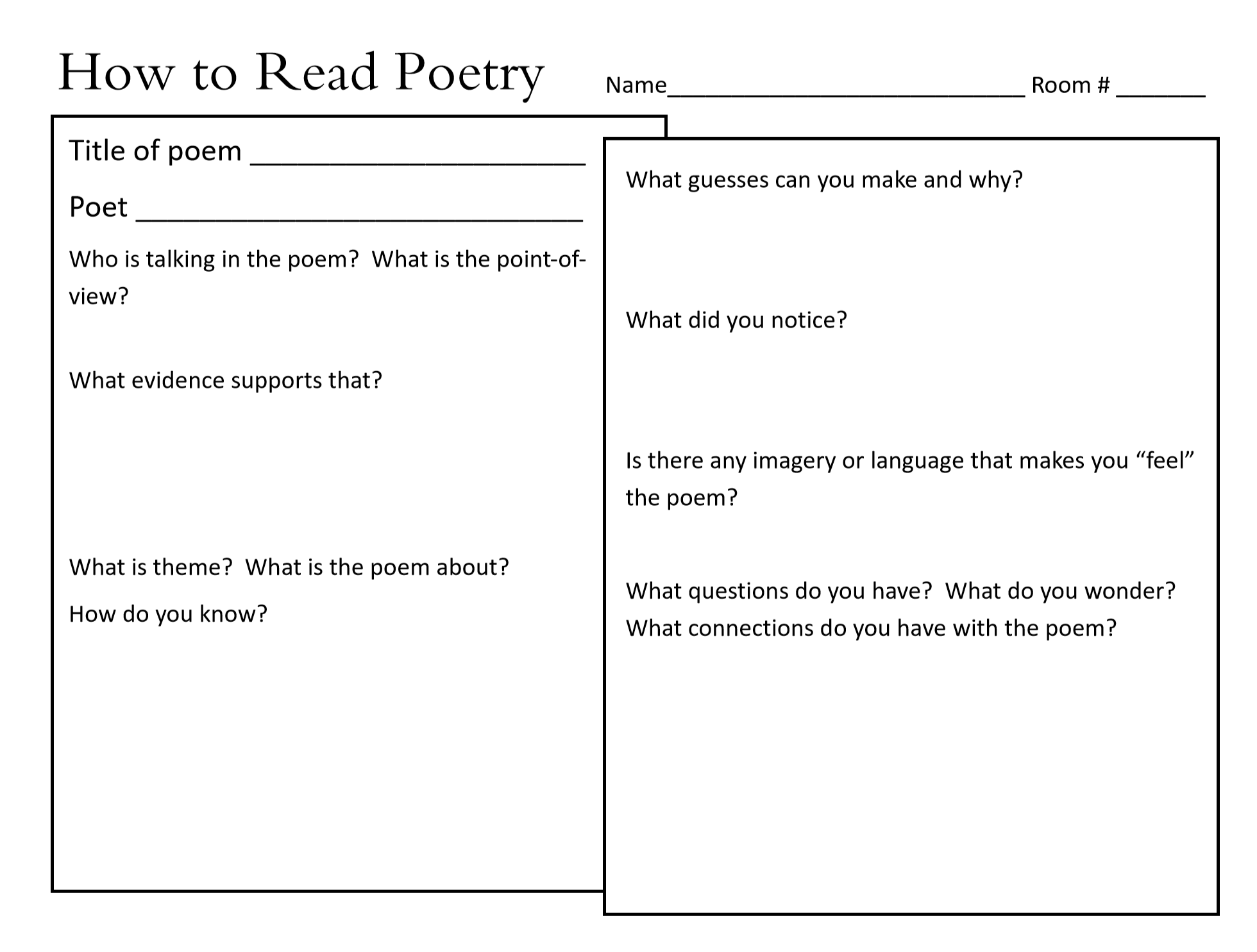 How To Read Poetry Is A Graphic Organizer Designed To Help