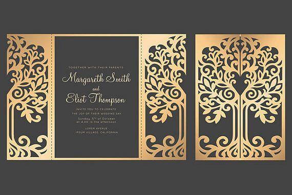 Svg Tree Gate Fold Wedding Invitation 5x7 Cricut