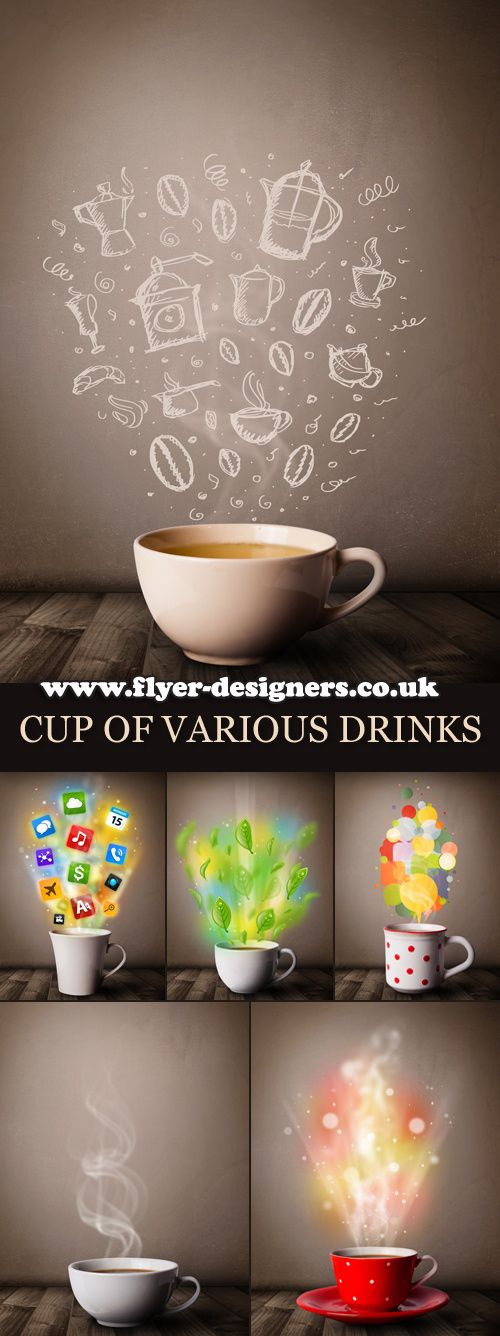 Stock Photo Cup Of Various Drinks Coffee Poster Design Poster Design Food Poster Design