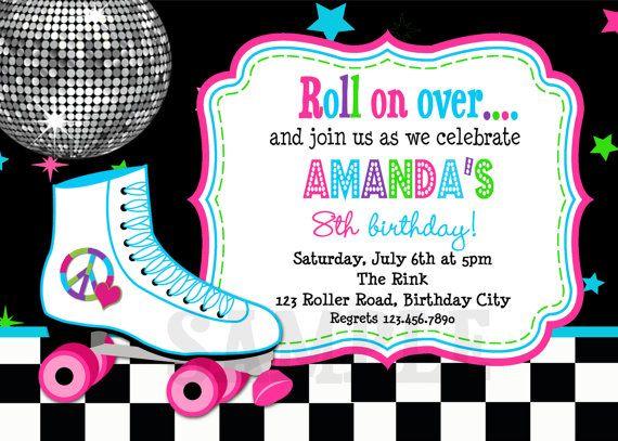 roller skating birthday invitation rollerskating birthday party