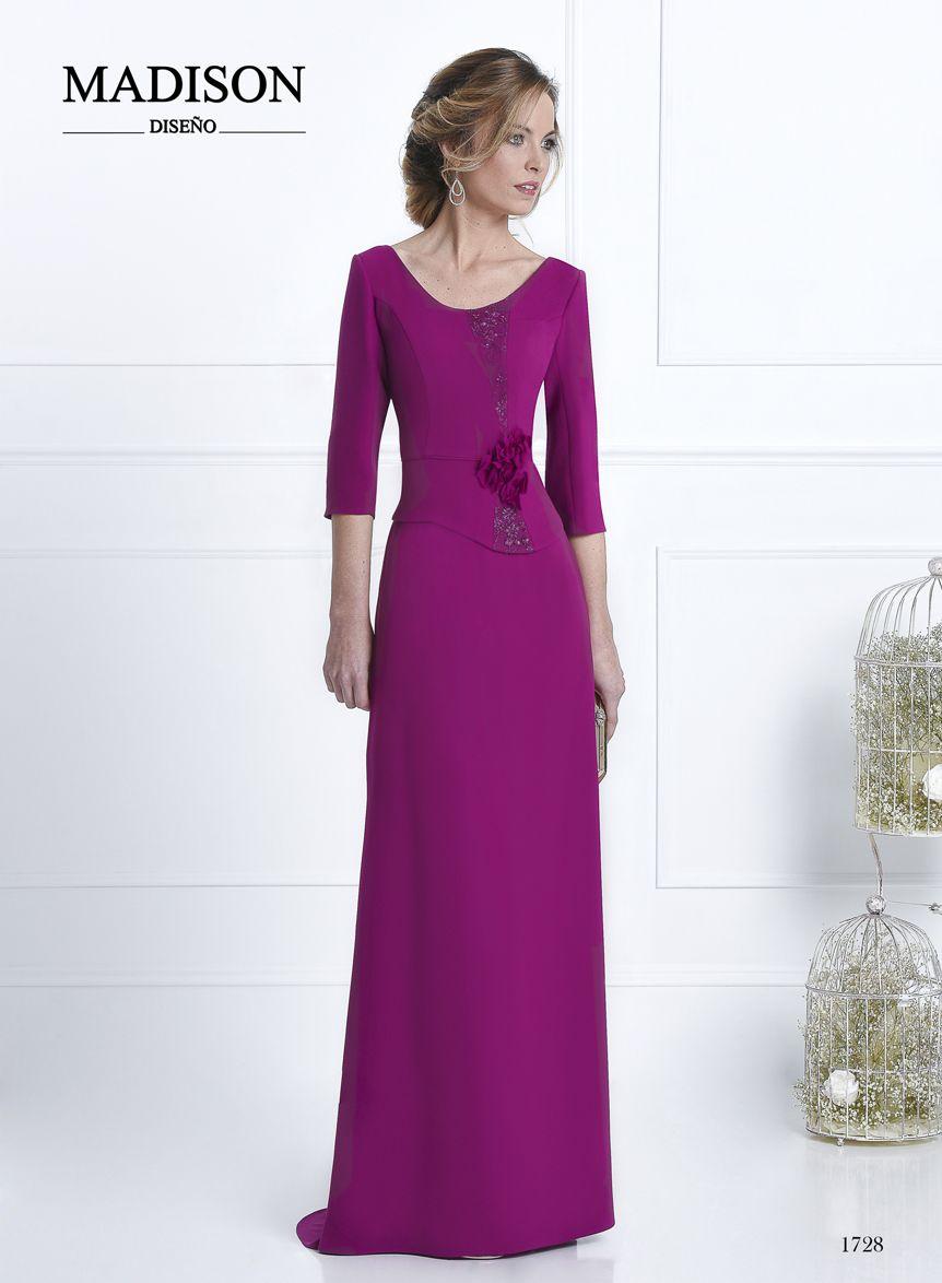 Vestido largo de fiesta confeccionado en crepe color buganvilla ...