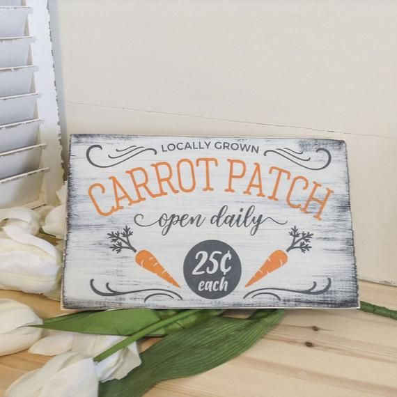 Photo of White Carrot Patch Easter Wood Sign, Spring Wall Art Decoration, Easter Gift, Spring Farmhouse Decor, Rustic Easter Wood Wall Art