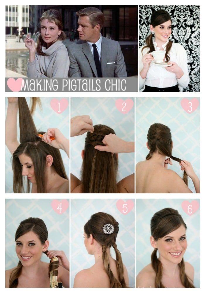 Audrey Hepburn Hair Tutorial Chic Pig Tails Hair Tutorial Audrey Hepburn Hair Hair Styles