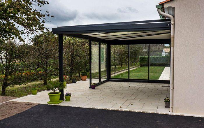 Préau aluminium gris anthracite / Préau / Vendée (85) | Architecture, Veranda, Toit en verre
