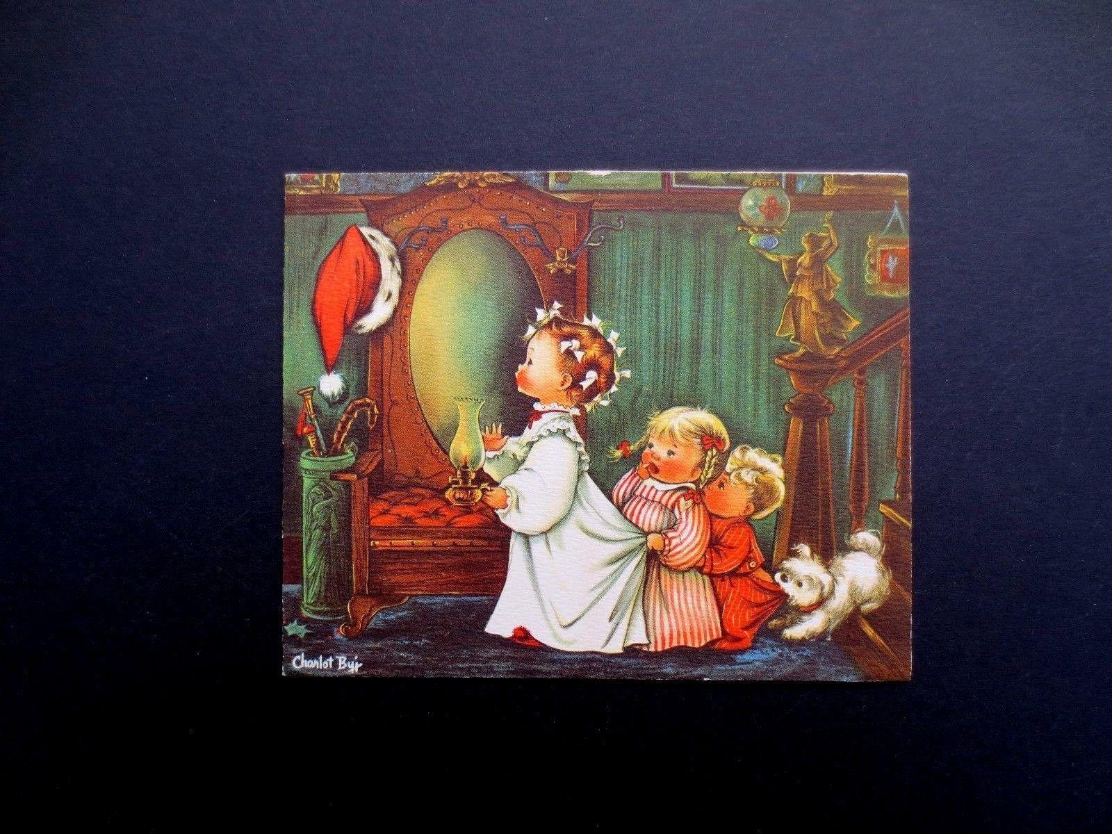 Vintage crestwick charlot byj byi xmas greeting card kids noticing vintage crestwick charlot byj byi xmas greeting card kids noticing santa039s hat kristyandbryce Images