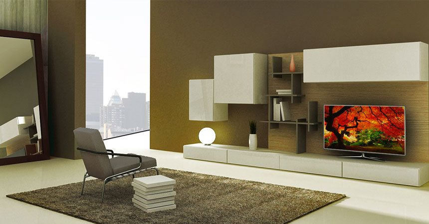 custom white wall unit and tv console