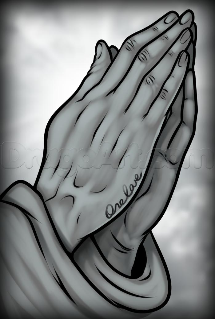 Praying hands drawing tutorial.