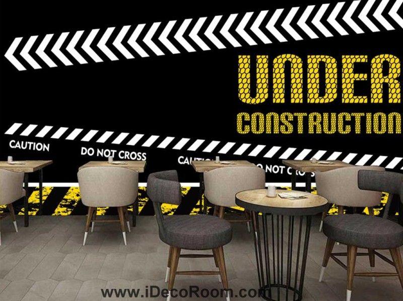 Wallpaper Graphic Design Of Under Construction Sign Art Wall