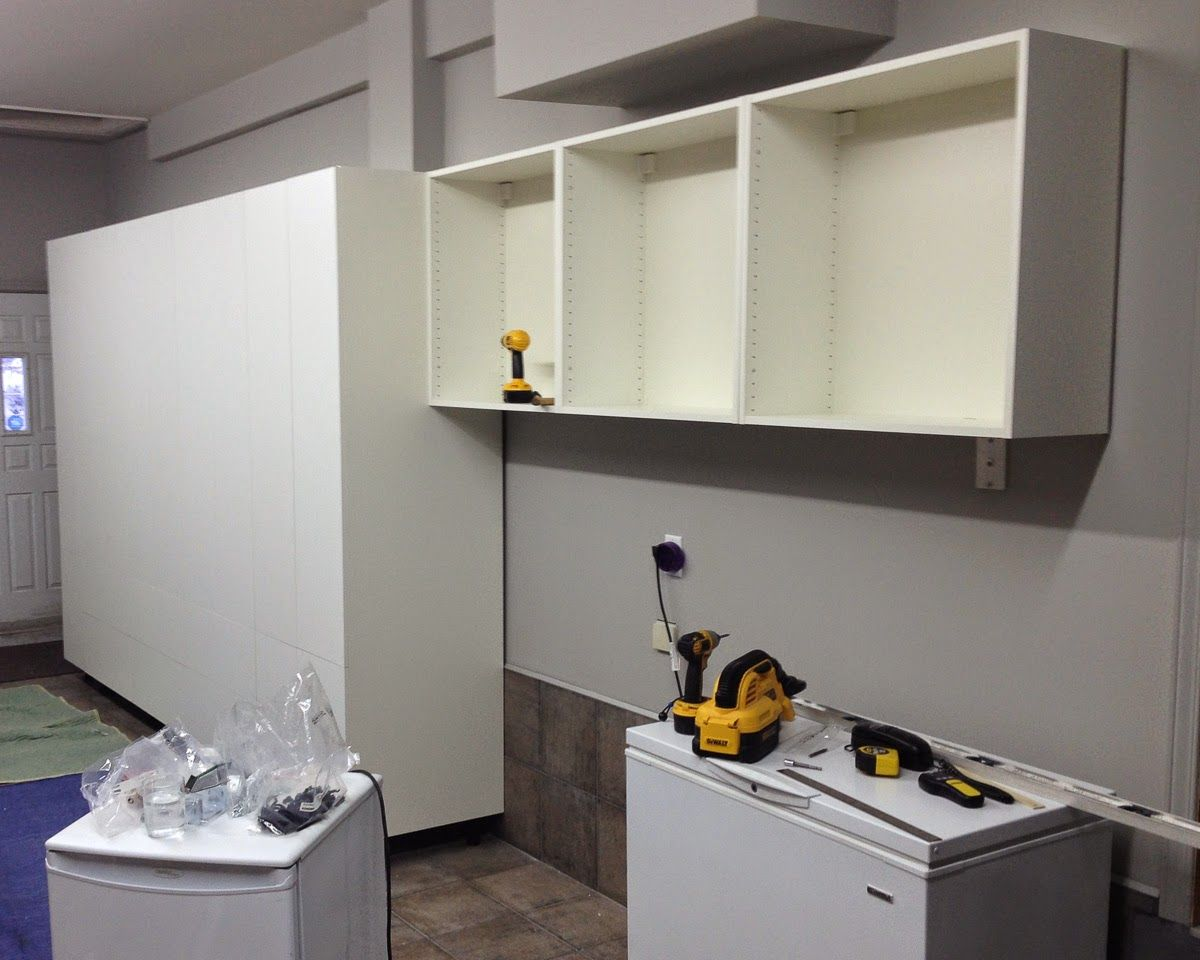The Fix It Blog Sorting Things Out Garage Organization Using Ikea Kitchen Cabinets Akurum Or Sektion Ikea Kitchen Cabinets Kitchen Cabinets Ikea Kitchen