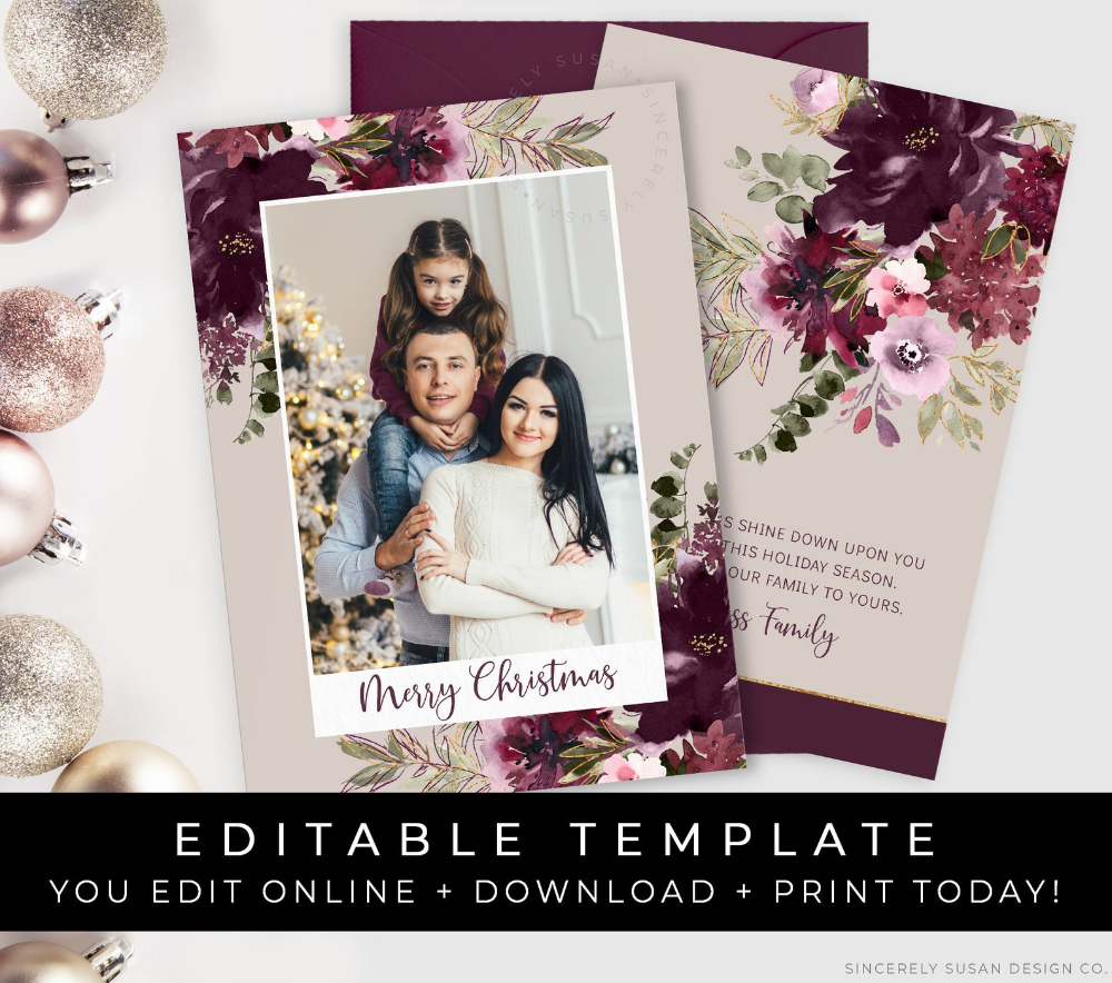 family photo christmas card floral watercolor burgundy