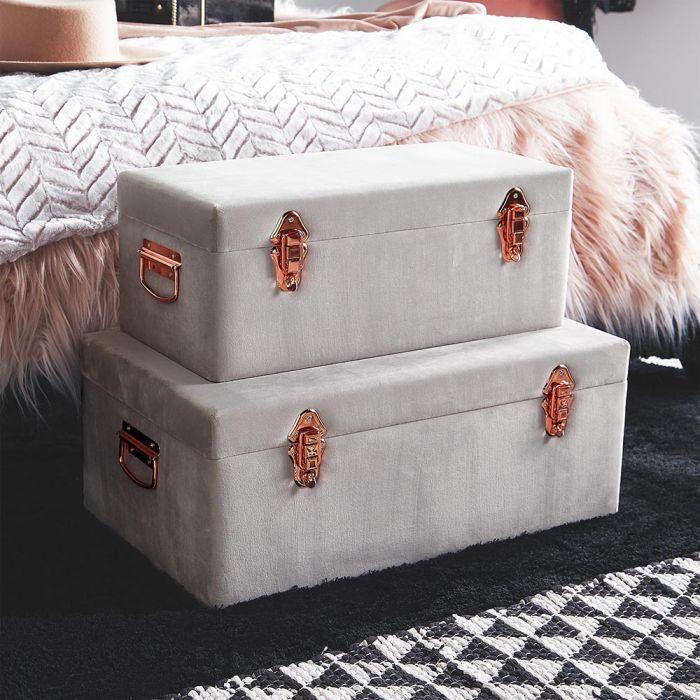 grey velvet trunks  set of 2  storage trunk grey velvet
