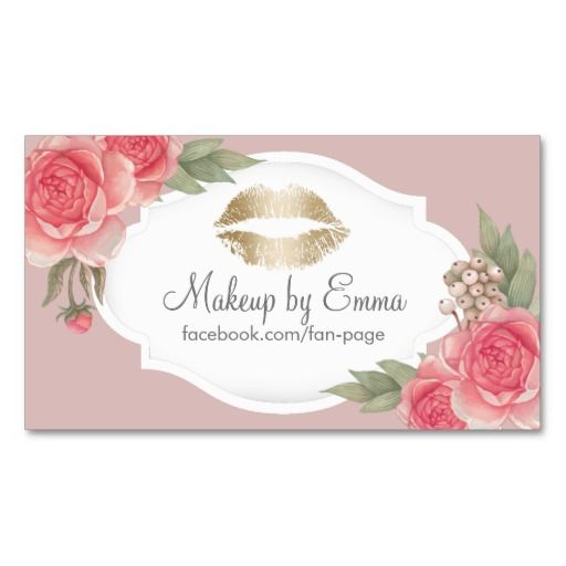 Makeup Artist Gold Kiss Dusty Pink Vintage Floral Business Card