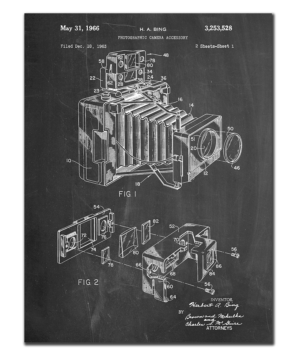 Photographic Camera Accessory Patent Print Chalkboard