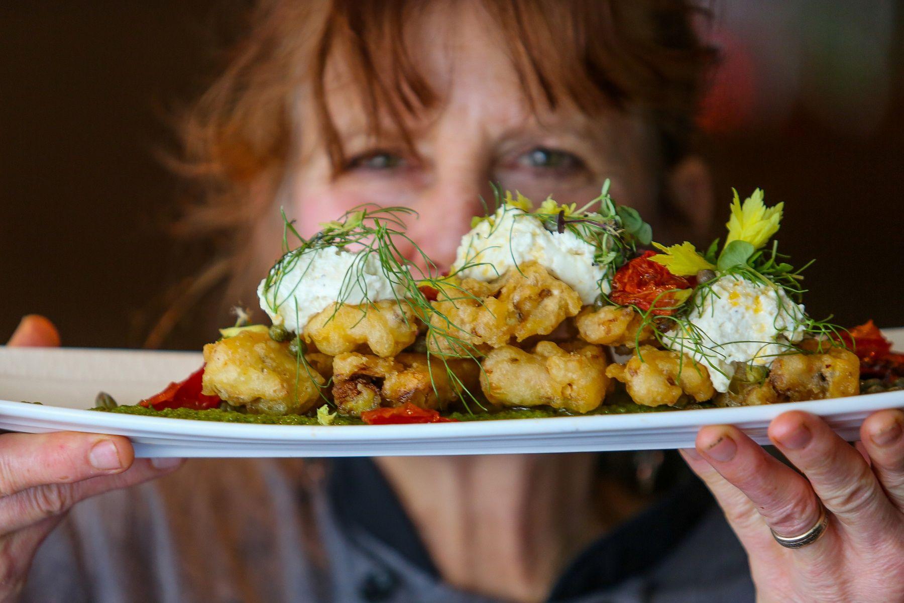 Deb P's tempura cauliflower with tomato oil