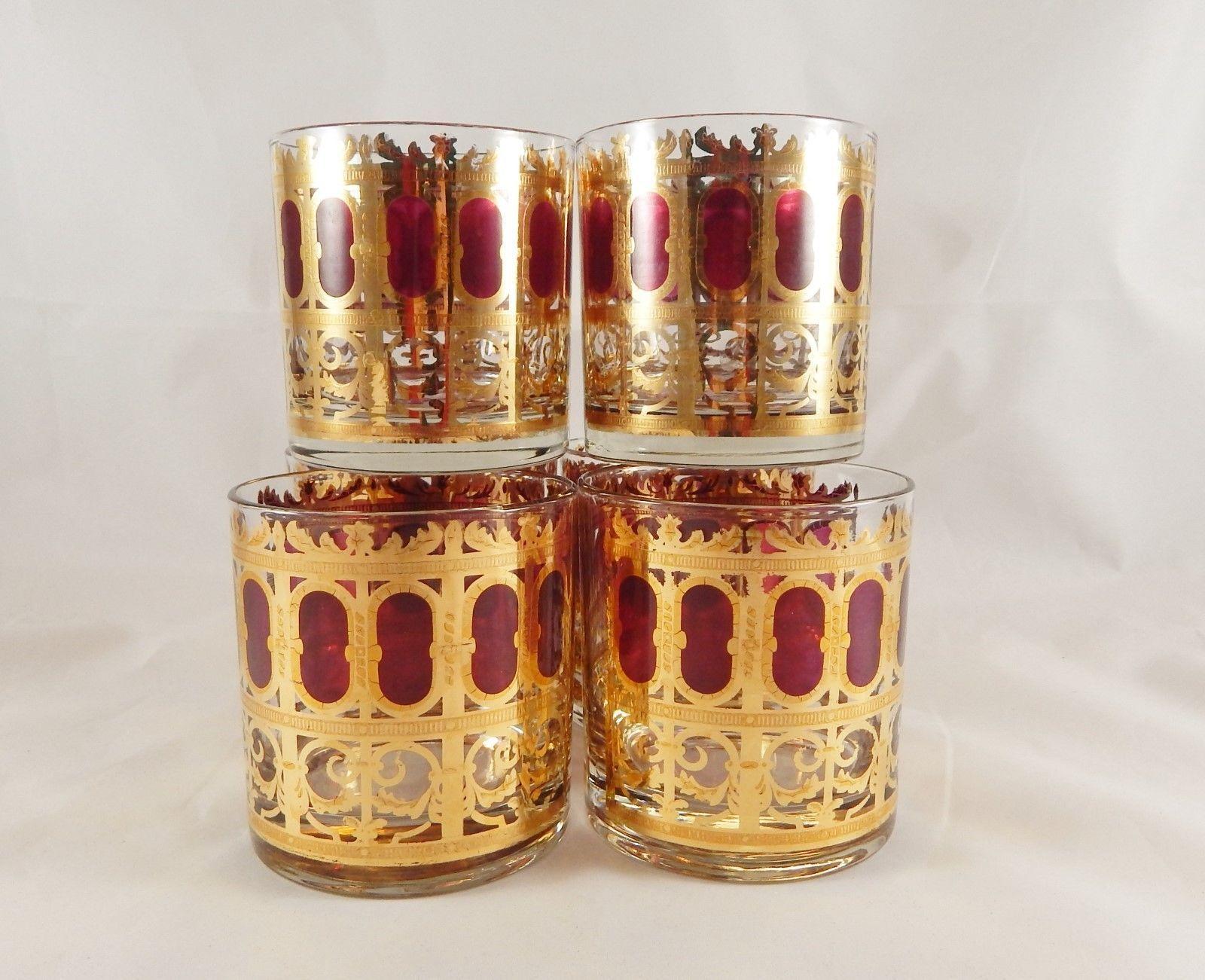 Vintage Culver 6 Low Ball Glasses Hollywood Regency 22k Gold Ruby