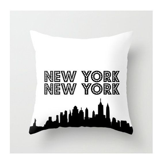 New York New York Pillow, New York Throw Pillow, Black White, Decorative Accent Pillow, US State, Tourist, Vacation, Modern Chic Home Decor