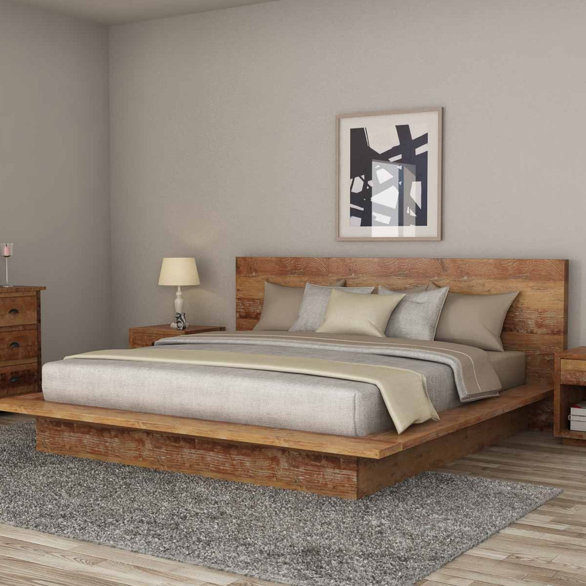 Britain Low Height Farmhouse Teak Wood Platform Bed Frame With