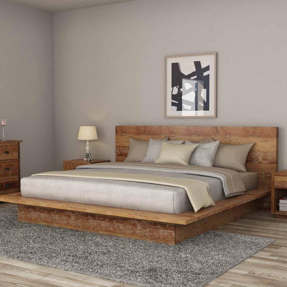 britain rustic teak wood platform bed