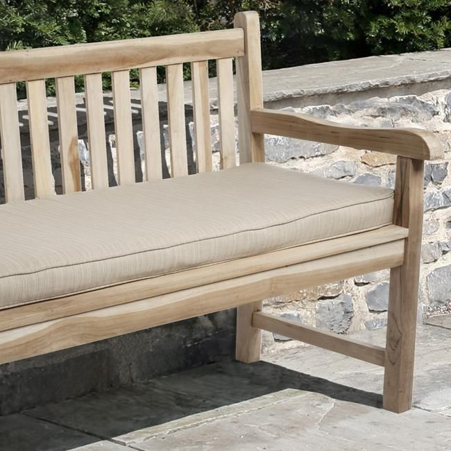 Clara 60 Inch Indoor Outdoor Textured Beige Bench Cushion With