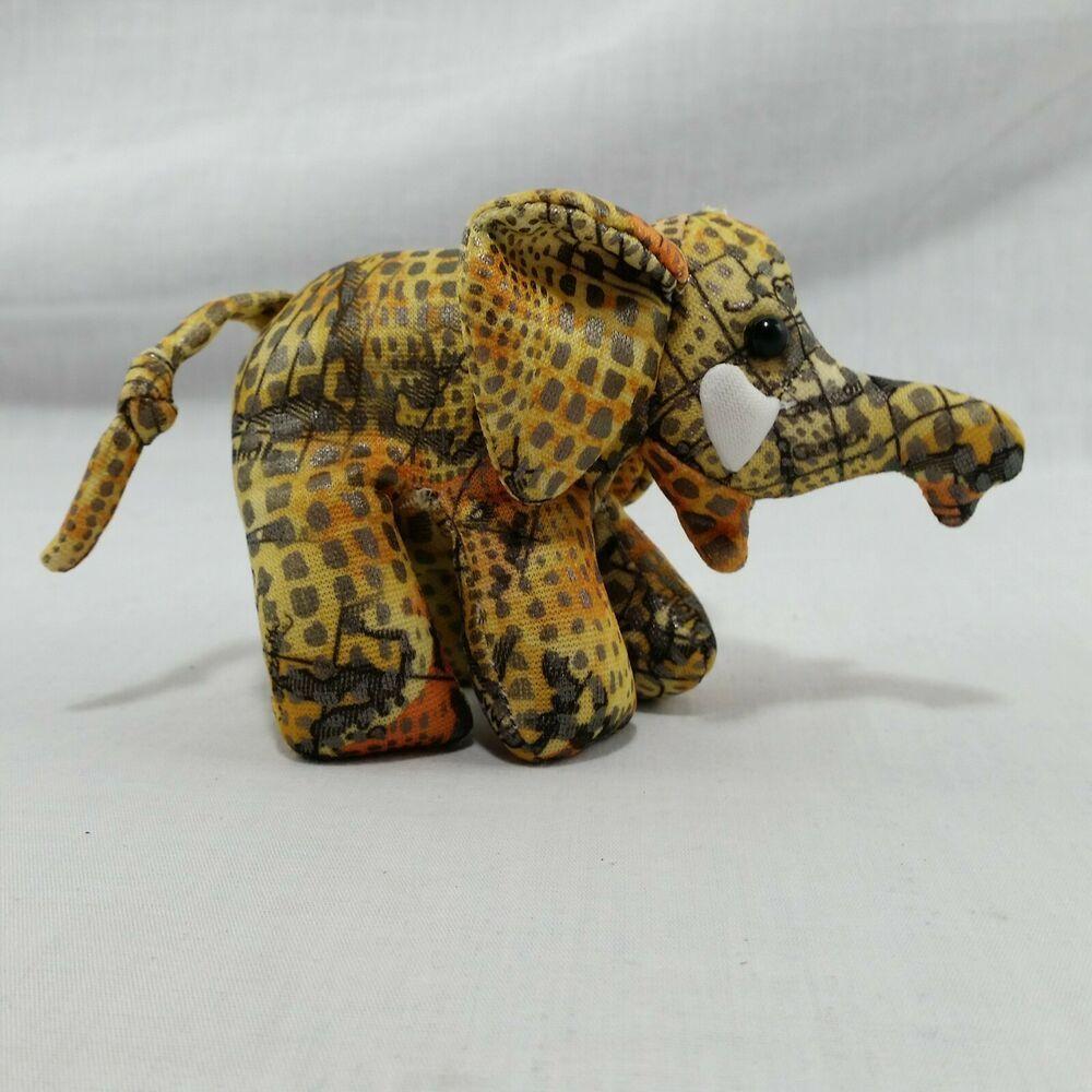 Sand Filled Stuffed Animals, Elephant Soft Toy Sand Filled Plush Yellow Orange Metallic Fabric Paperweight 90s Elephant Plush Sand Desert Elephant Soft Toy Animal Plush Toys Soft Toy