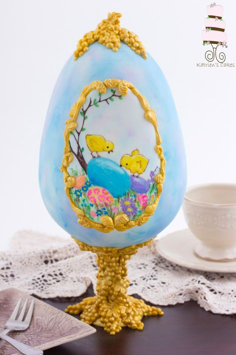 Make this Easter one you'll never forget by serving up an intricate, gravity-defying 3-D Easter egg cake with hand-painted details.