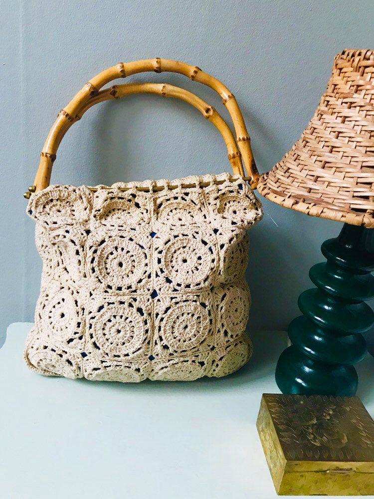 Vintage Crochet Handbag Tote Bag Bohemian Boho Chic Hippie Etsy In 2020 Crochet Handbags Crochet Bag Pattern Bamboo Bag