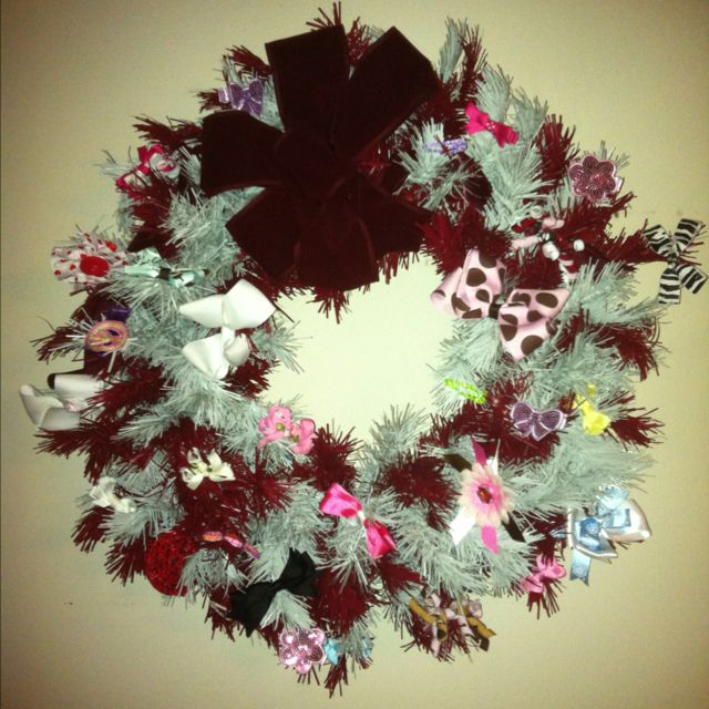 Use your wreath all year long to hold hair bows :) this one is a Bama wreath that matches the bedroom so it works great!