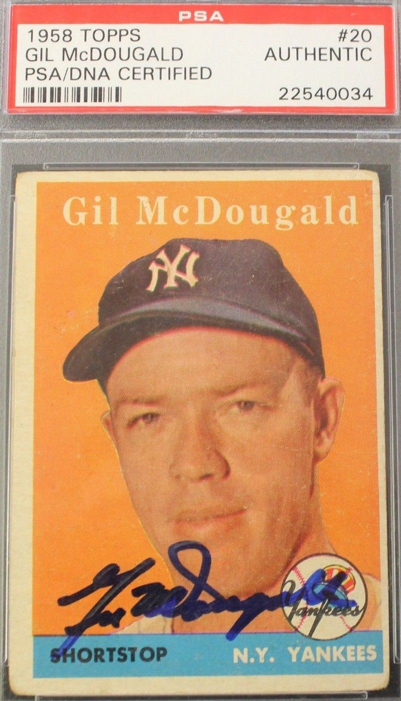 1958 topps gil mcdougald autograph baseball history